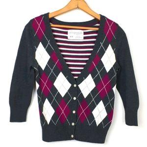NEW Aeropostale 3/4 Sleeve Knit Argyle Cardigan M